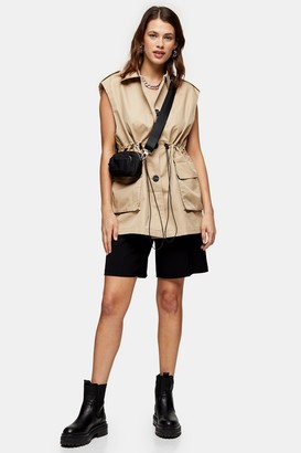 Topshop Sand Sleeveless Jacket