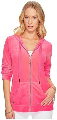 Lilly Pulitzer Larina Velour Zip-Up Hoodie (Pascha Pink) Women's Sweatshirt