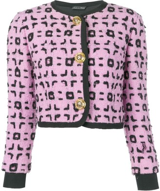 Versace Pre Owned Cropped Boucle Jacket