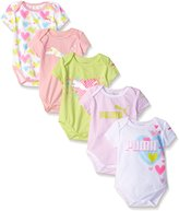 Puma Baby Girls' 5 Pack Bodysuit Pink/Green Hearts
