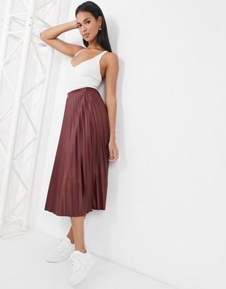 ASOS DESIGN leather look pleated midi skirt in burgundy
