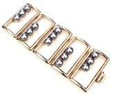 Ben-Amun Golden Box Bracelet With Black Pearls