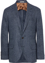 Brunello Cucinelli Blue Slim-fit Prince Of Wales Checked Wool-blend Blazer - Storm blue