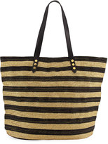 San Diego Hat Company Striped Braid Tote Bag, Black
