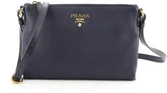 Prada Dual Strap Flat Crossbody Bag Vitello Daino Medium