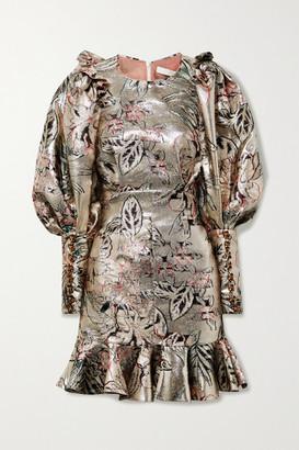 ANNA MASON Sylvie Embellished Ruffled Brocade Mini Dress - Silver