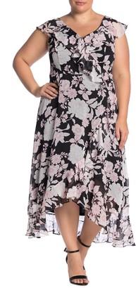 London Times Floral Faux Wrap Dress (Plus Size)