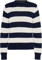 Ralph Lauren Purple Label Striped Cotton and Cashmere Rollneck Sweater