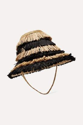 Cult Gaia Mia Striped Fringed Straw Hat - Black