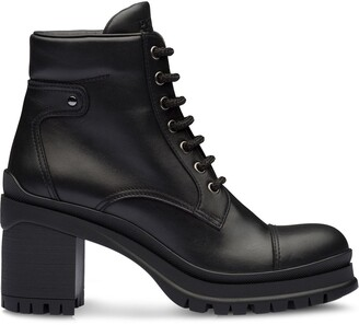 Prada lace-up chunky heel ankle boots