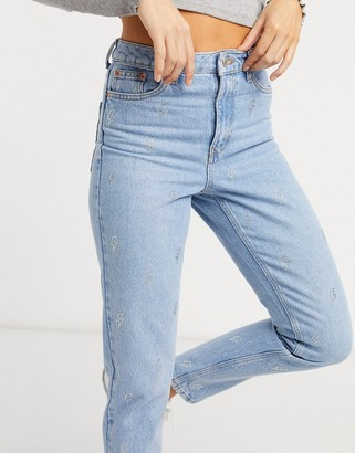 Topshop lightning detail Mom jeans in bleach stone wash