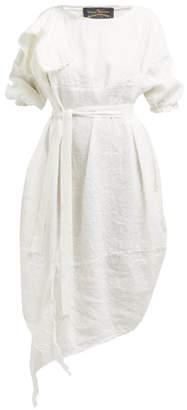 Vivienne Westwood Balloon Raw Edged Linen Blend Midi Dress - Womens - White