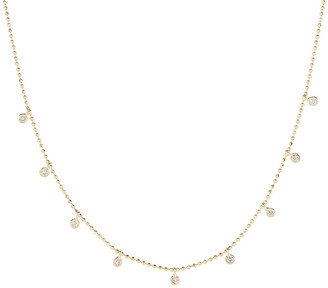 STONE AND STRAND Teeny Dangling Diamond Bead Chain Necklace in Gold & Diamond   FWRD