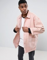 Asos Denim Worker Jacket In Pink