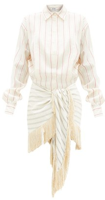 ATTICO Knotted Striped Cotton-blend Shirt Dress - White Print