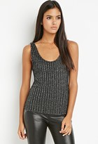 Forever 21 FOREVER 21+ Contemporary Metallic Ribbed Knit Top