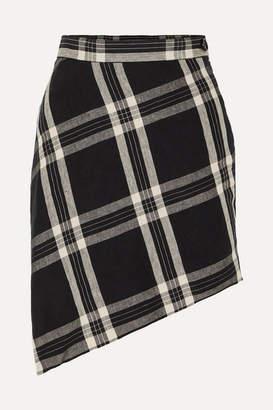Vivienne Westwood Infinity Wrap-effect Asymmetric Tartan Organic Linen Mini Skirt - Black