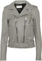 Saint Laurent Leather Biker Jacket - Gray