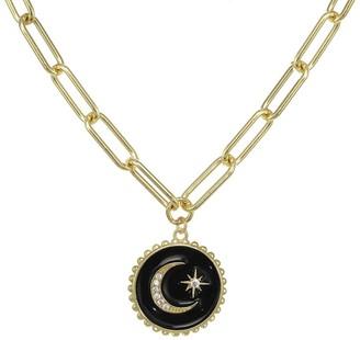 Rachel Reinhardt 14K Vermeil Black Enamel & Cz Star Moon Necklace
