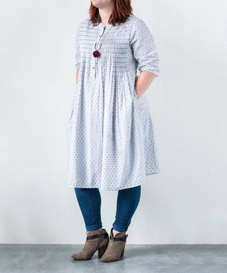 Embellish Women's Casual Dresses Blue - White & Blue Polka Dot Side-Pocket Midi Dress - Women