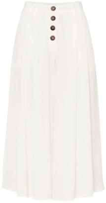 Paisie Culottes With Pleated Front & Button Details With Self Belt In White