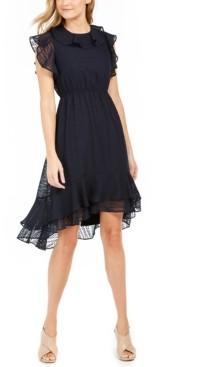 Calvin Klein Textured Ruffled High-Low A-Line Dress