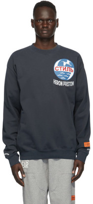 Heron Preston Navy Style Inc. Logo Sweatshirt