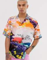 Jaded London revere collar shirt with Japanese print