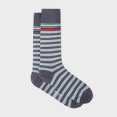 Paul Smith Men's Multi-Stripe Trim Dark And Light Grey Stripe Socks