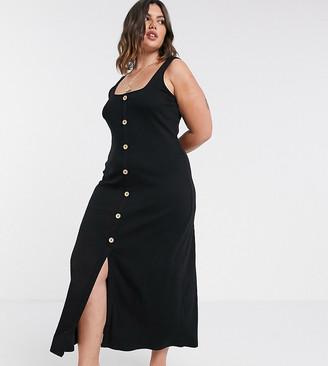 Asos DESIGN Curve rib square neck button through maxi dress in black