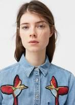 MANGO Embroidered Denim Shirt