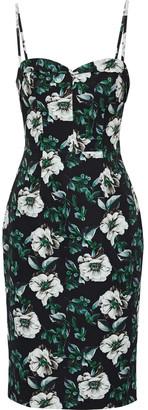 Black Halo Clover Floral-print Cady Dress
