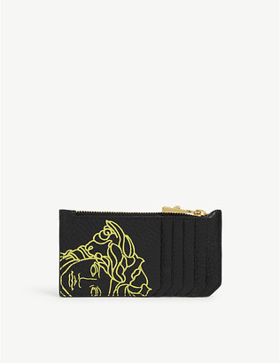 Versace Graphic-print zipped leather cardholder