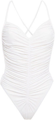 Norma Kamali Butterfly Mio Open-back Ruched Swimsuit