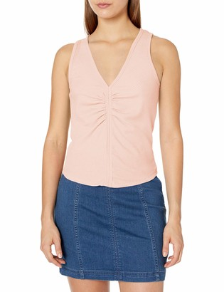 Tresics Women's Trendy Basic Junior Sleeveless Fitted Top with Shirring Detail in Front