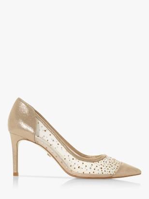 Dune Binkies Embellished Mesh Court Heels, Gold