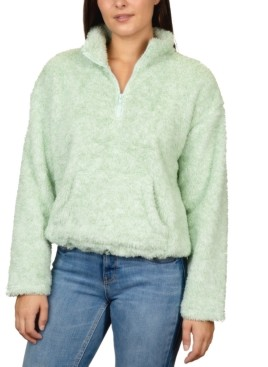 Rebellious One Juniors' Marled Fuzzy Quarter-Zip Top