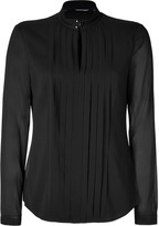 Burberry Pleated Stretch Silk Top in Black