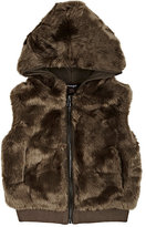 Imoga Faux-Fur Hooded Vest-BROWN
