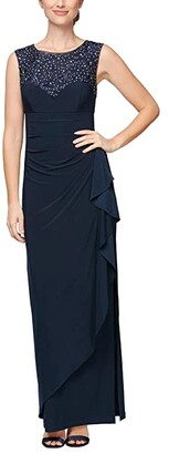 Alex Evenings Petite Long Cap Sleeve Dress with Embellished Neckline (Navy) Women's Dress