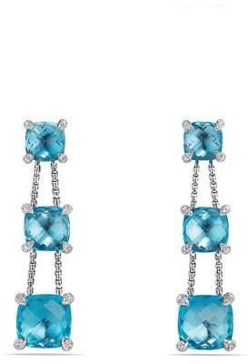 David Yurman Châtelaine Chain Three-Drop Earrings in Blue Topaz with Diamonds