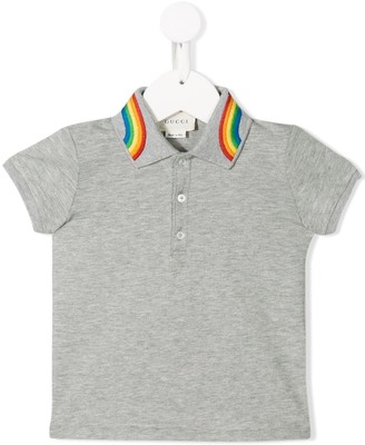 Gucci Kids Rainbow Collar Polo Shirt
