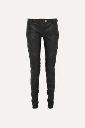 Balmain Ribbed Leather Skinny Pants - Black