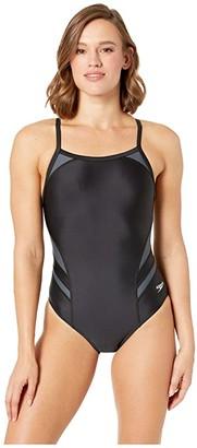 Speedo Tone Setter Splice Flyback One-Piece (Black/Grey) Women's Swimsuits One Piece
