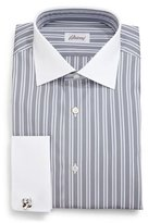 Brioni Contrast-Collar Multi-Stripe French-Cuff Dress Shirt, Gray