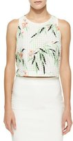 Elizabeth and James Terri Floral Crop Top, White/Multicolor