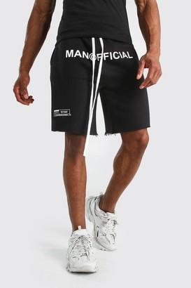 boohoo Mens Black MAN Official Drop Crotch Printed Short, Black