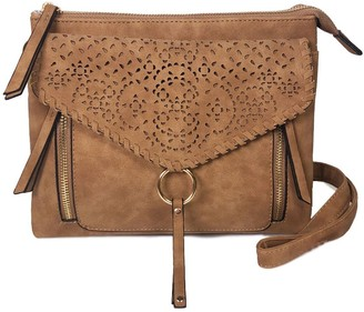Violet Ray Double Compartment Laser-Cut Crossbody - Leanna