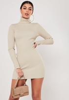 Missguided Stone Roll Neck Bodycon Knit Mini Dress