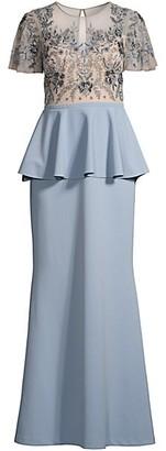 Aidan Mattox Illusion Peplum Gown